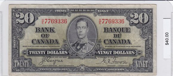 1937 - Canada - 20 Dollars - Coyne / Towers - H/E 7769336