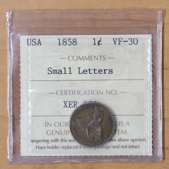 1858 - USA - 1c - Sm Ltrs - VF30 ICCS - retail $135