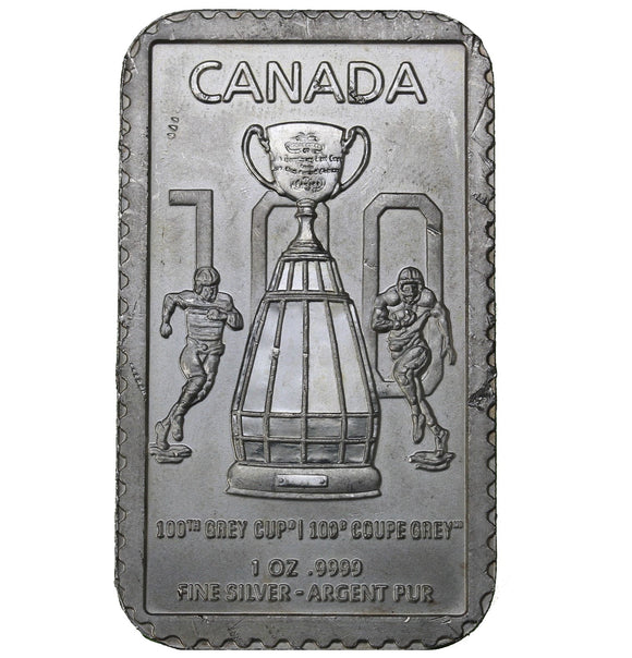 1 oz - Bar - 100th Grey Cup - Fine Silver Bar