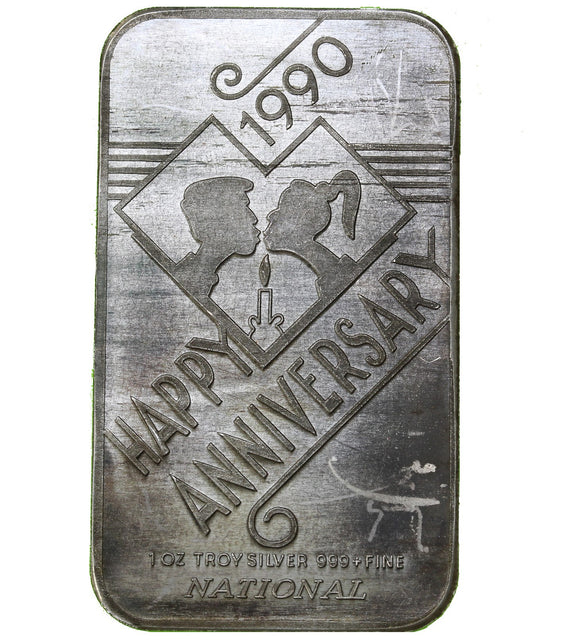 1 oz - National Mint - Happy Anniversary 1990 - Fine Silver Bar