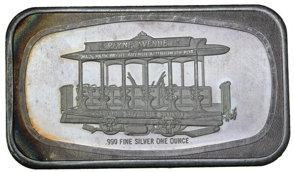 1 oz - Cleveland City Cable Railway - Fine Silver Bar
