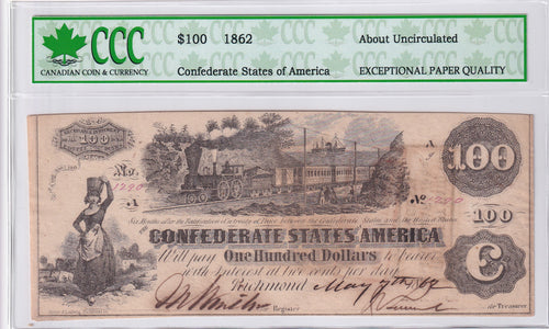 1862 - USA - 100$ - Confederate States of America - No. 1290