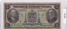 Load image into Gallery viewer, 1935 - The Royal Bank of Canada - $5 - Large Signatures - 1101540