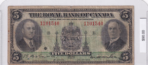 1935 - The Royal Bank of Canada - $5 - Large Signatures - 1101540