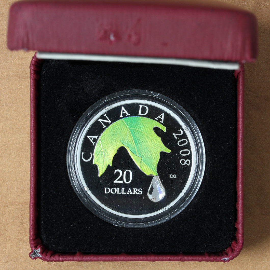 SOLD - 2008 - Canada - $20 - Crystal Raindrop - Proof - BELOW ISSUE!