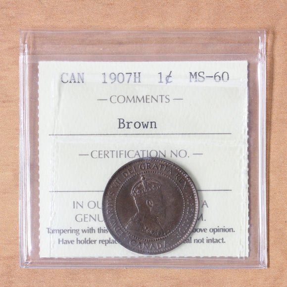 SOLD - 1907 H - Canada - 1c - MS60 (Brown) ICCS