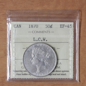 1870 - Canada - 50c - LCW - EF45 ICCS - retail $875