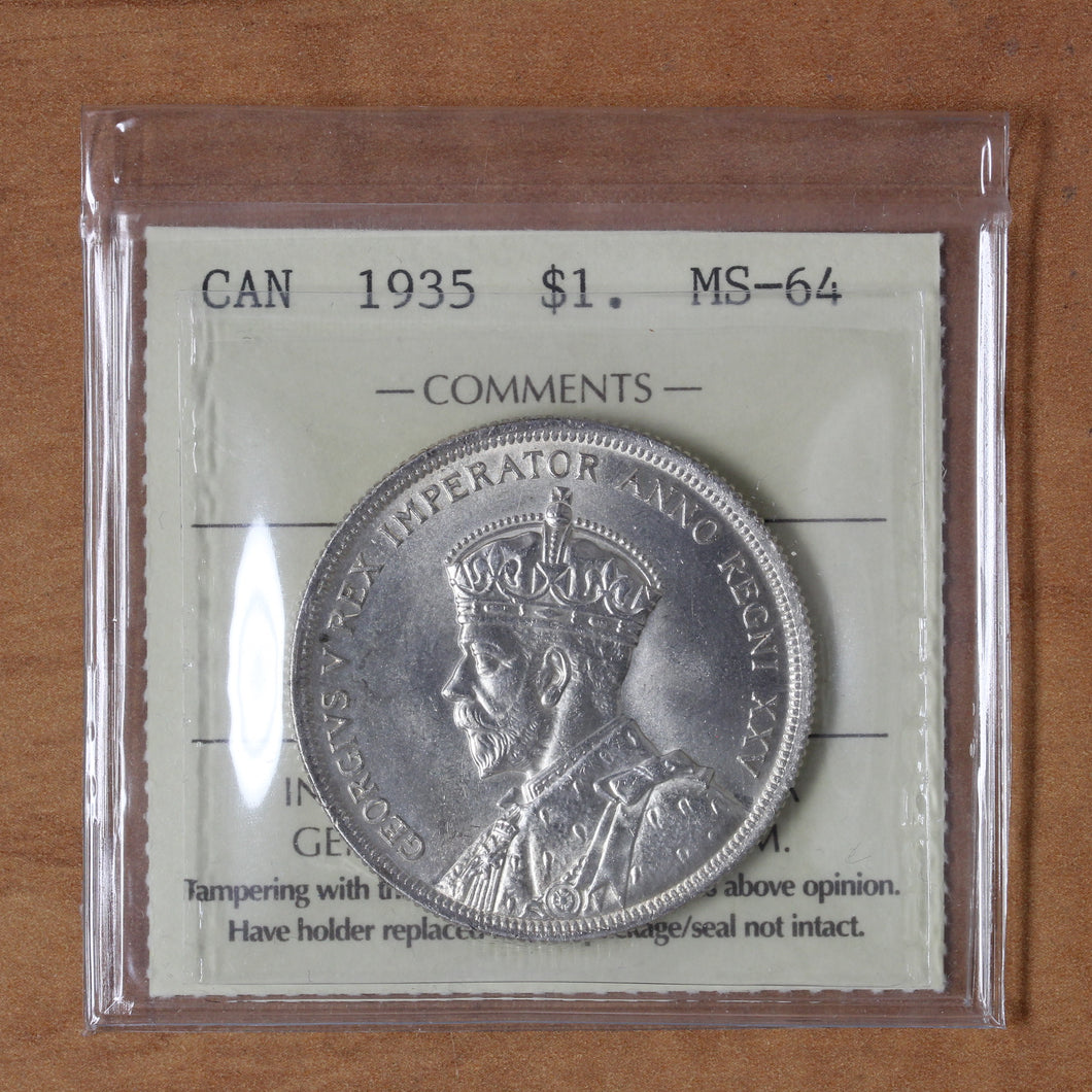 SOLD - 1935 - Canada - $1 - MS64 ICCS - retail $125