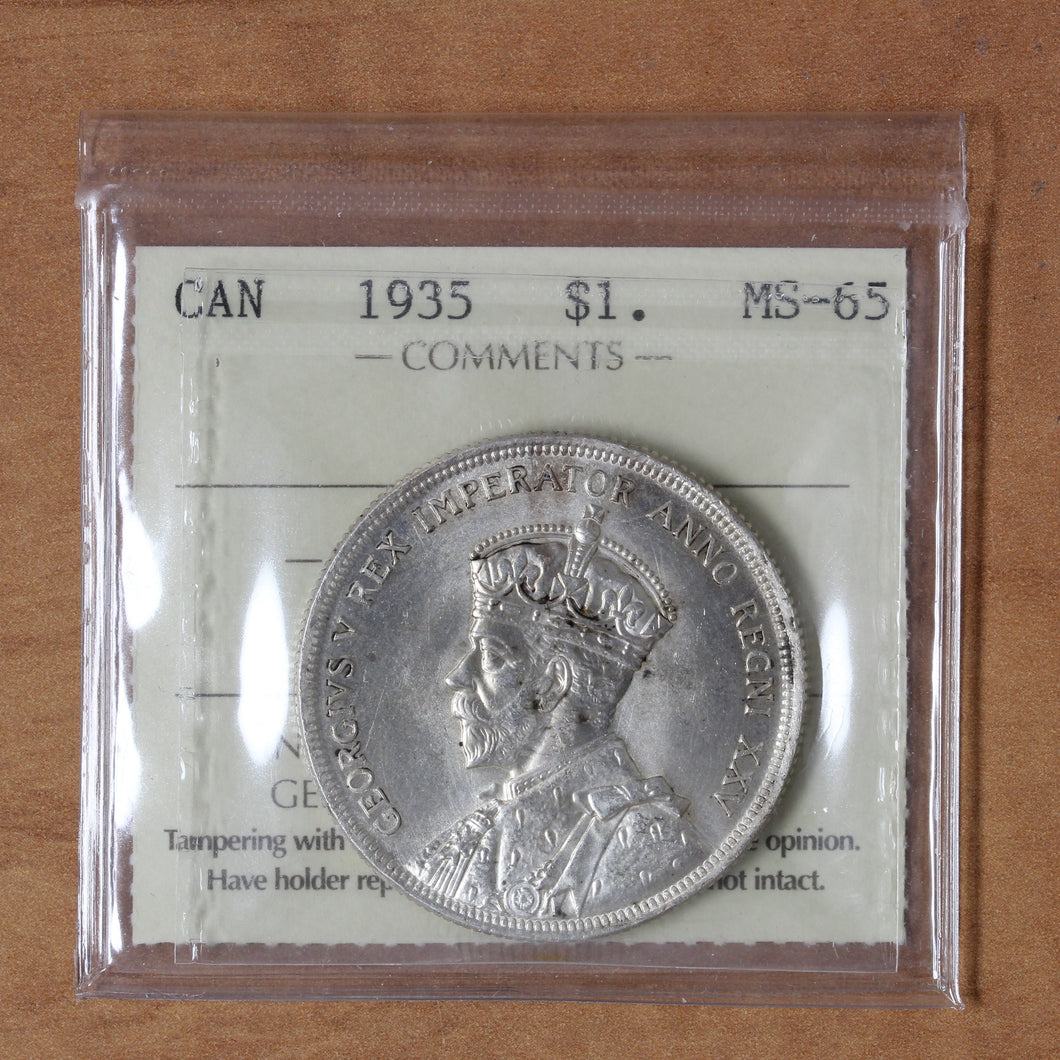 SOLD - 1935 - Canada - $1 - MS65 ICCS - retail $250