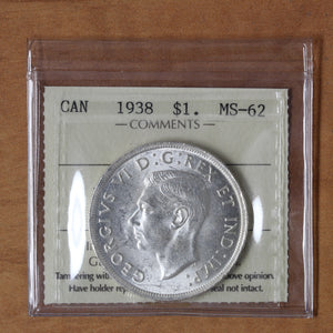 SOLD - 1938 - Canada - $1 - MS62 ICCS - retail $180