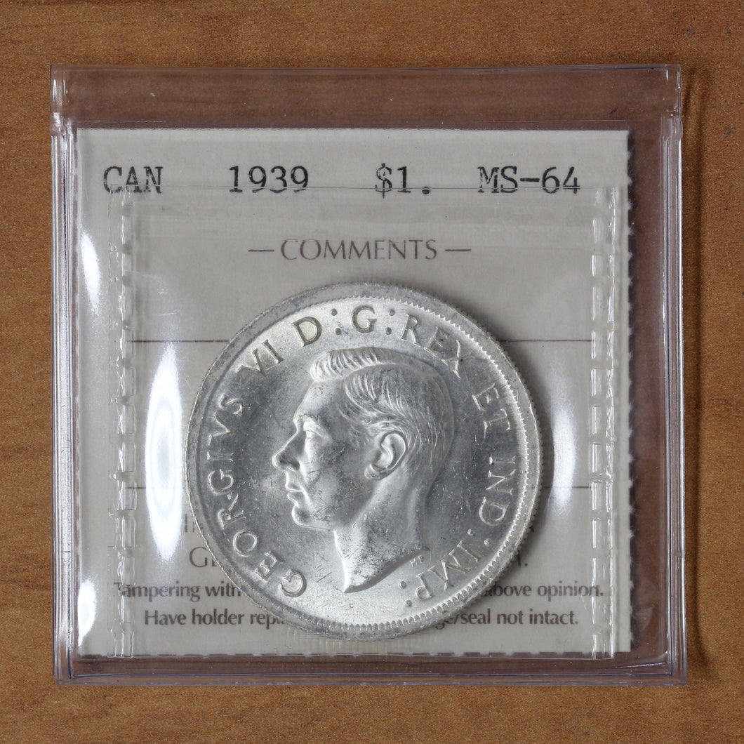SOLD - 1939 - Canada - $1 - MS64 ICCS - retail $90