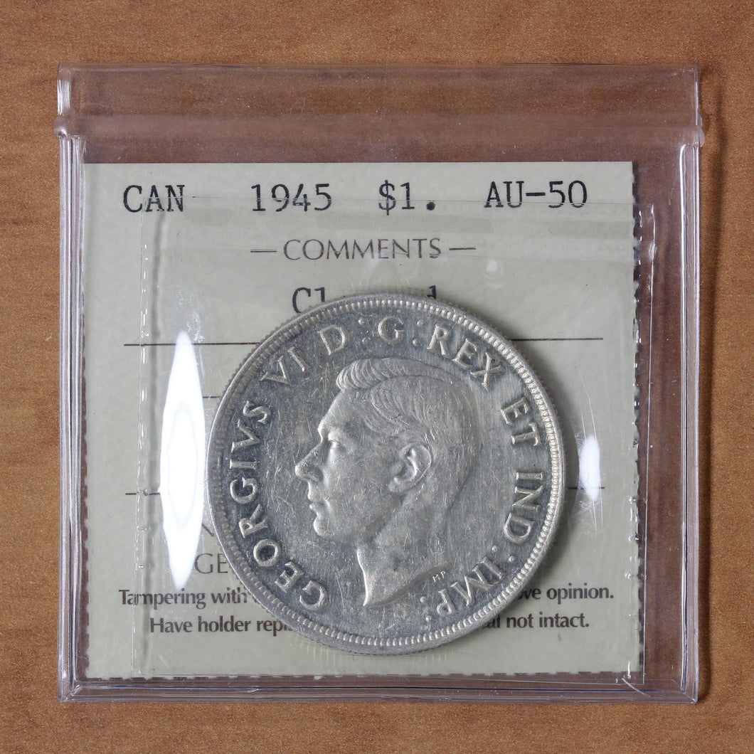 SOLD - 1945 - Canada - $1 - AU50 (Cleaned) ICCS