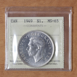 SOLD - 1949 - Canada - $1 - MS65 ICCS - retail $100