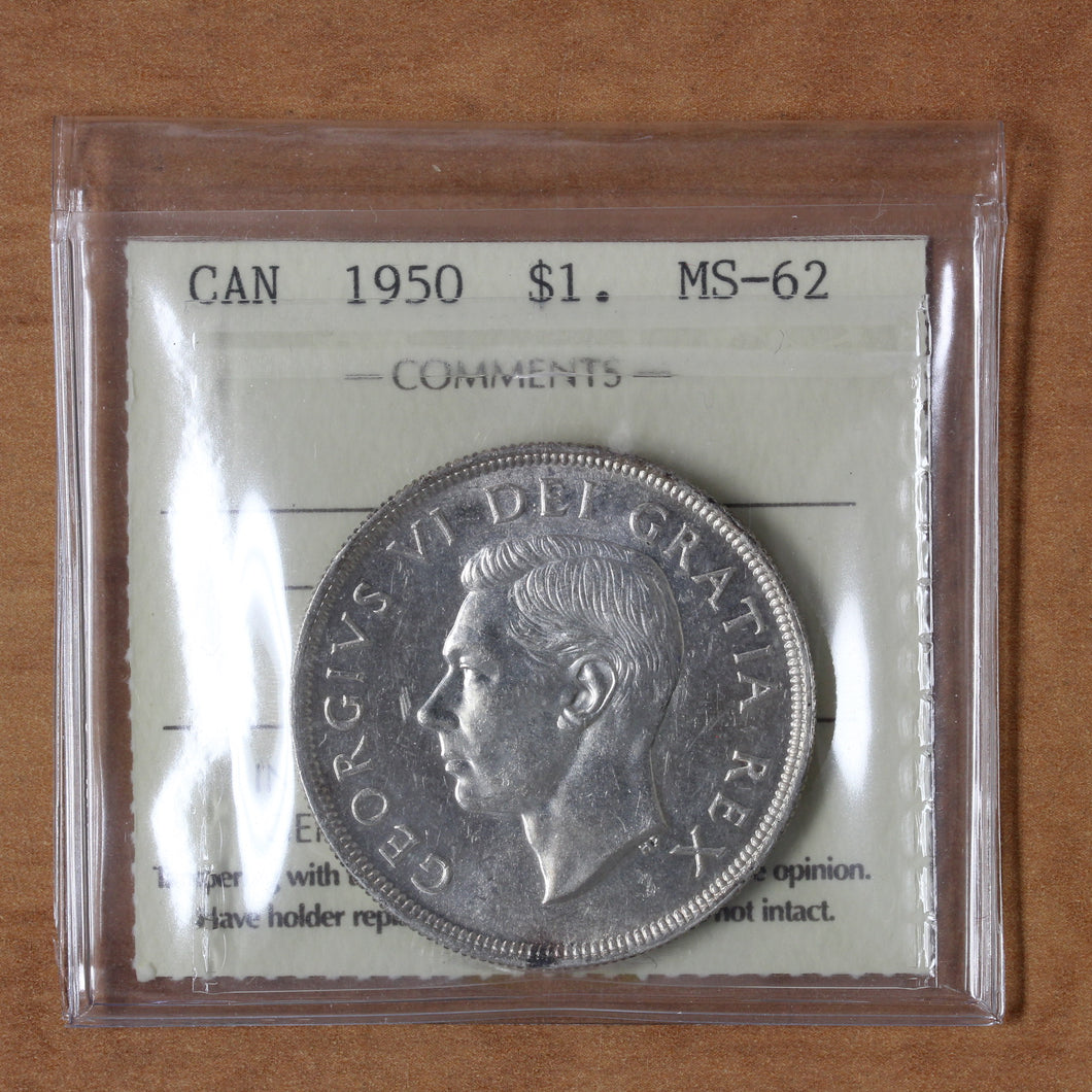 SOLD - 1950 - Canada - $1 - MS62 ICCS - retail $45
