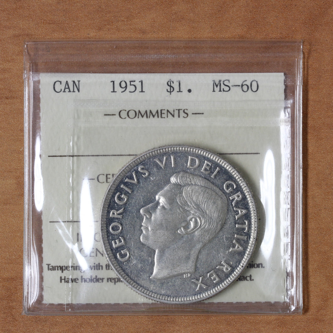 SOLD - 1951 - Canada - $1 - MS60 ICCS - retail $30