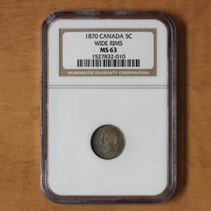 1870 - Canada - 5c - Wide Rim - MS63 NGC - retail $1,000
