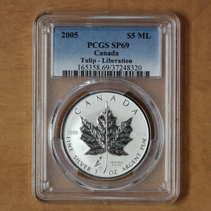 SOLD - 2005 - Canada - $5 - ML Tulip Liberation Privy Mark - SP69 PCGS