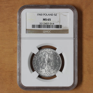 SOLD - 1960 - Poland - 5 zlotych - MS65 NGC
