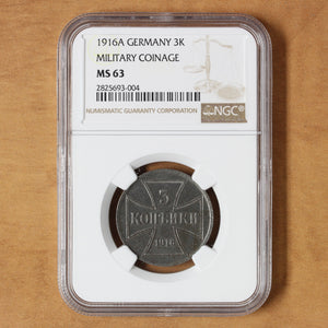SOLD - 1916 J - Poland - 3 Kopeks - MS63 NGC