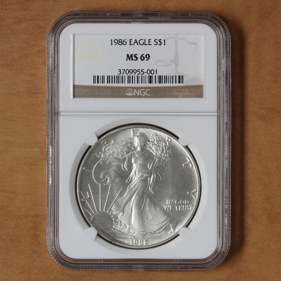 SOLD - 1986 - USA - $1 - Silver Eagle - MS69 NGC