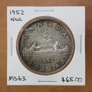 SOLD - 1952 - Canada - $1 - NWL - MS63 - retail $65