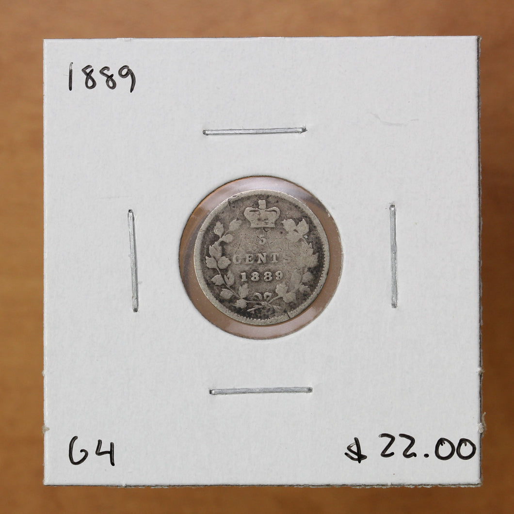 SOLD - 1889 - Canada - 5c - G4
