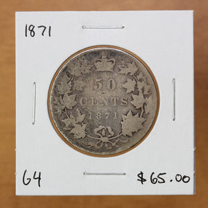 SOLD - 1871 - Canada - 50c - G4