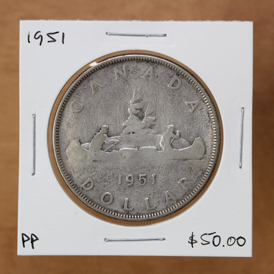 SOLD - 1951 - Canada - $1 - Pocket Piece