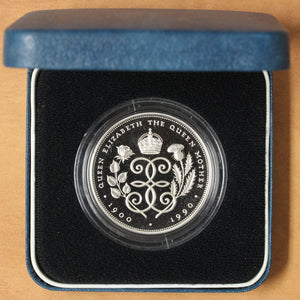SOLD - 1990 - Great Britain - 5 Pounds - 90th Birthday - Proof - retail $50