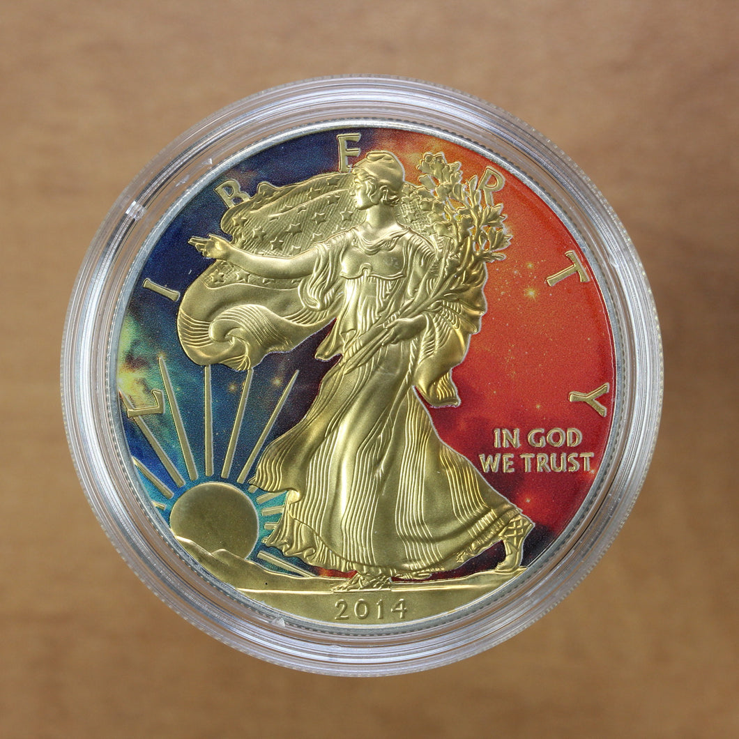SOLD - 2014 - USA - $1 - Silver Eagle - UNC (Coloured)