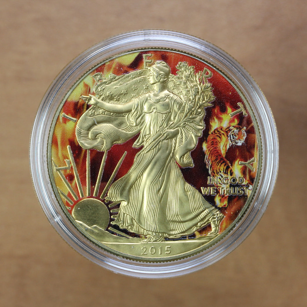 SOLD - 2015 - USA - $1 - Silver Eagle - UNC (Coloured)