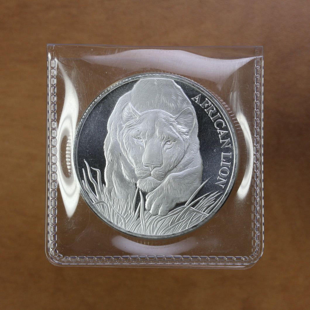 2017 - Chad - 5000 Francs - African Lion - Fine Silver - 1 oz. Round