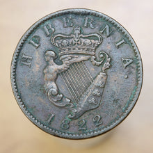 Load image into Gallery viewer, 1822 - Ireland - 1/2 Penny - VF35