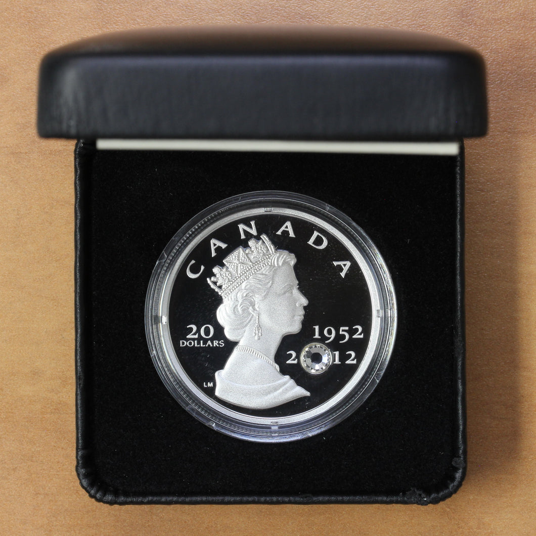 SOLD - 2012 - Canada - $20 - Diamond Jubilee With Crystal - Proof - retail $90 - 40% OFF!