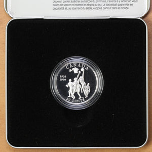 SOLD - 1999 - Canada - 50 cents - Invention of Basketball by Canadian James Naismith - Proof