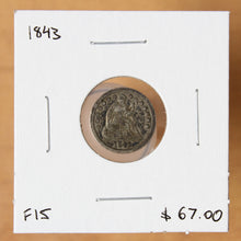Load image into Gallery viewer, 1843 - USA - 1/2 Dime - F15 - retail $67