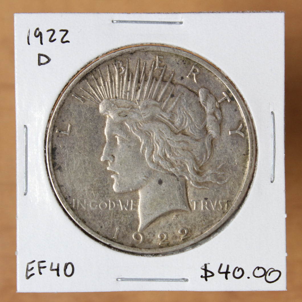 SOLD - 1922 D - USA - $1 - EF40 - retail $40