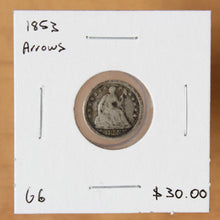Load image into Gallery viewer, 1853 Arrows - USA - 1/2 Dime - G6 - retail $30