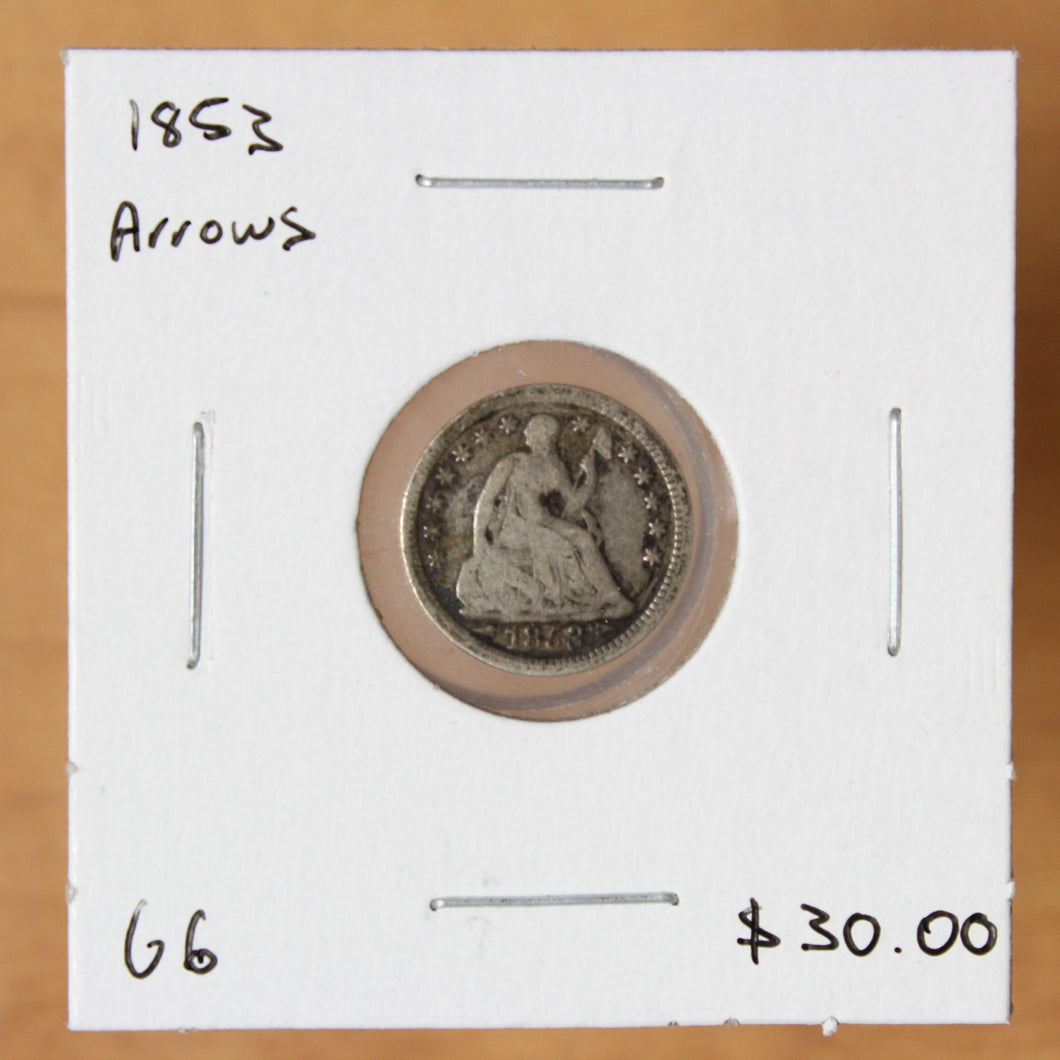 1853 Arrows - USA - 1/2 Dime - G6 - retail $30