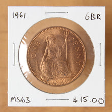 Load image into Gallery viewer, 1961 - Great Britain - 1 Penny - MS63 - retail $15.00