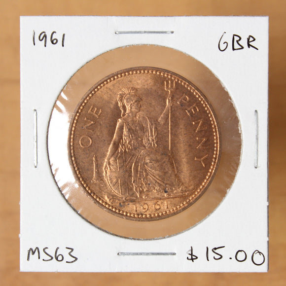 1961 - Great Britain - 1 Penny - MS63 - retail $15.00