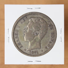 Load image into Gallery viewer, SOLD - 1871 (71) SD-M - Spain - 5 Pesetas - VF20 - retail $30
