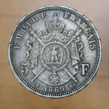 Load image into Gallery viewer, 1869 BB - France - 5 Francs - EF40 - retail $50