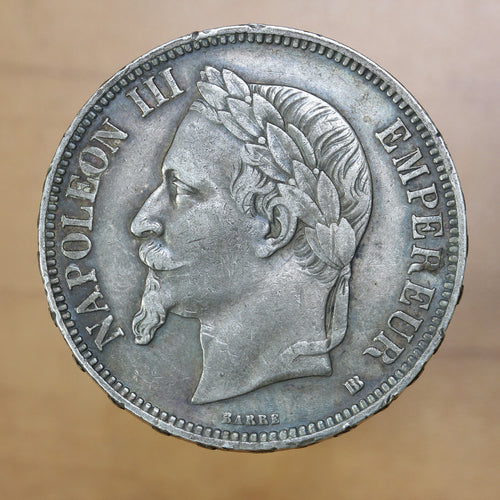 1869 BB - France - 5 Francs - EF40 - retail $50