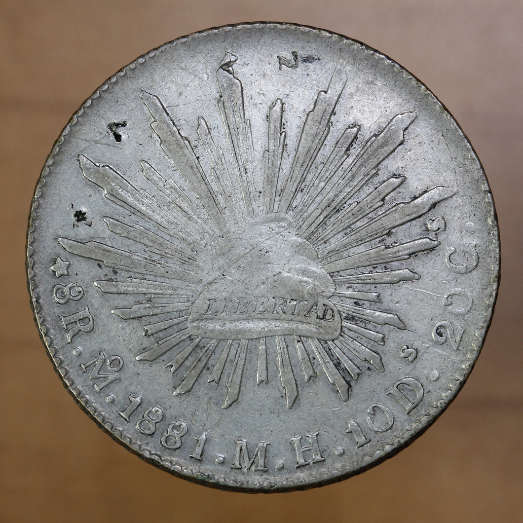 SOLD - 1881 Mo MH - Mexico - 8 Reales - VF20 - retail $37.25
