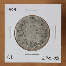 Load image into Gallery viewer, 1909 - Canada - 50c - G6 - retail $30