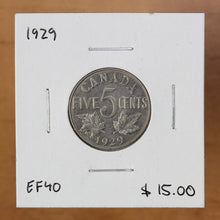 Load image into Gallery viewer, SOLD - 1929 - Canada - 5c - EF40 - retail $15