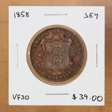 Load image into Gallery viewer, 1858 - Jersey - 1/26 Shilling - VF30 - retail $39