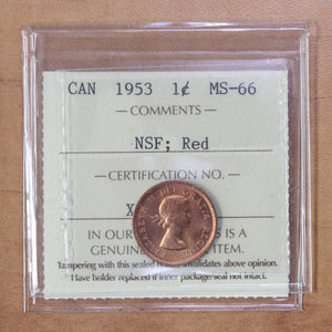 SOLD - 1953 - Canada - 1c - NSF - MS66 (Red) ICCS - retail $300