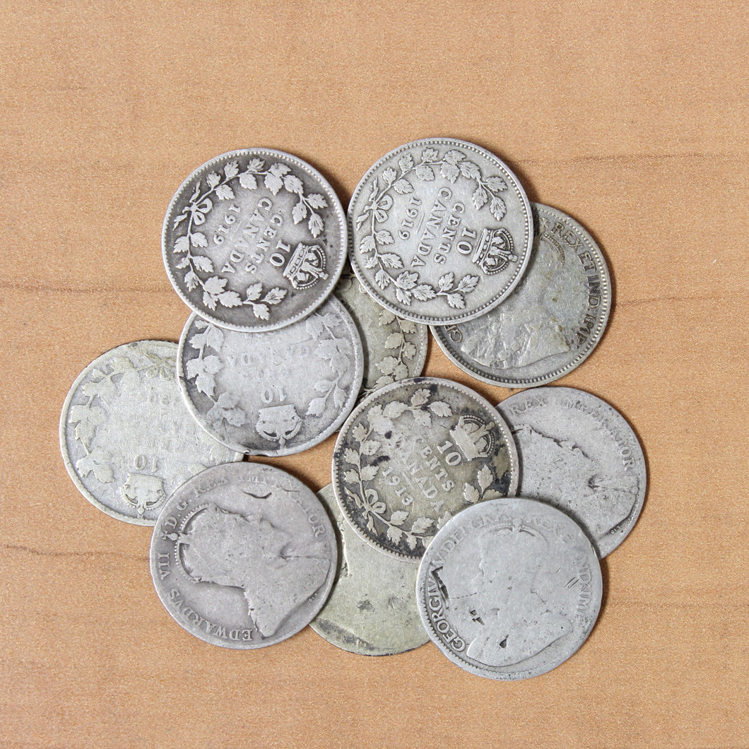 Canadian Sterling 10 Cents - 92.5% Silver 10c - (Pre-1919)
